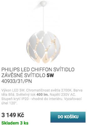 PHILIPS LED CHIFFON SVÍTIDLO ZÁVĚSNÉ SVÍTIDLO 5W 40933/31/PN