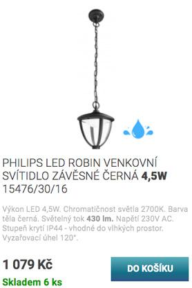 Philips LED robin venkovní svítidlo závěsné černá 4,5w 15476/30/16