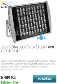 LED průmyslové osvětlení 70W teplá bílá