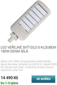 LED veřejné svítidlo s kloubem 180W denní bílá