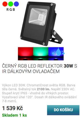 Černý RGB LED reflektor 30W
