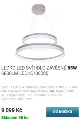 LEDKO LED SVÍTIDLO ZÁVĚSNÉ 85W 6800LM LEDKO/00205