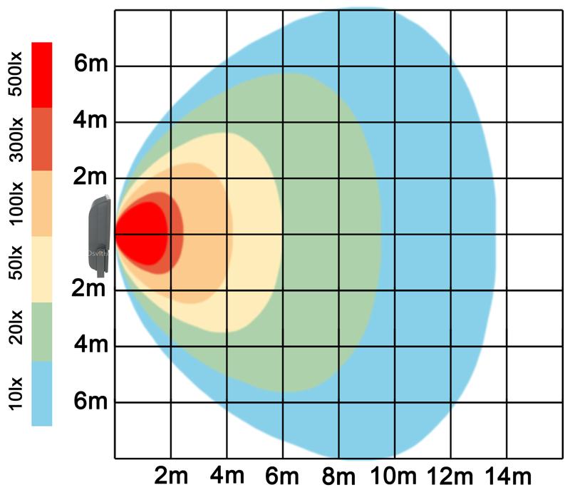 graf světelného toku - Stříbrný LED reflektor 70W