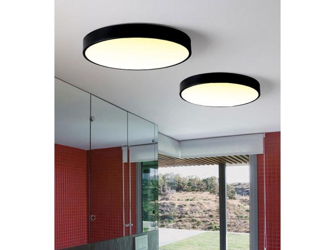 Černý designový LED panel 600mm 48W teplá bílá