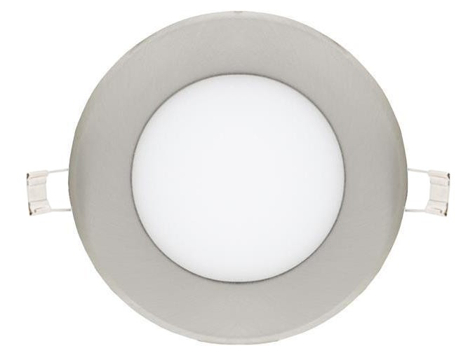 chromový kruhový vestavný LED panel 120mm 6W teplá bílá