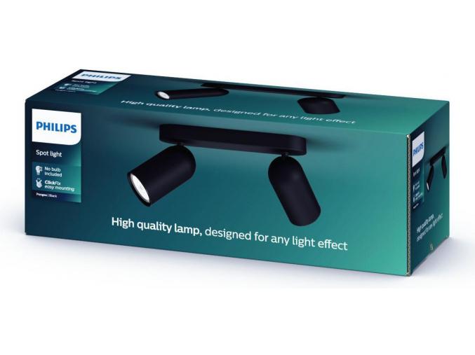 Philips LED bodové přisazené svítidlo GU10 2x10W denní bílá černé Pongee 50582/30/PN
