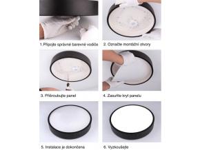Černý designový LED panel 400 x 400mm 24W teplá bílá