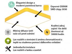 Žlutý designový LED panel 600x600mm 48W teplá bílá