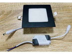 Černý vestavný LED panel 3W čtverec 85 x 85mm teplá bílá