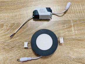 černý vestavný LED panel 6W čtverec 120x120mm denní bílá