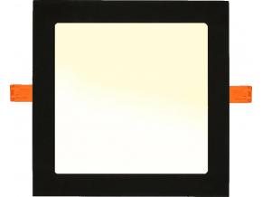 černý vestavný LED panel 18W kulatý 225mm teplá bílá