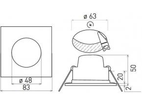 Bílé vestavné podhledové LED svítidlo čtverec 5W teplá