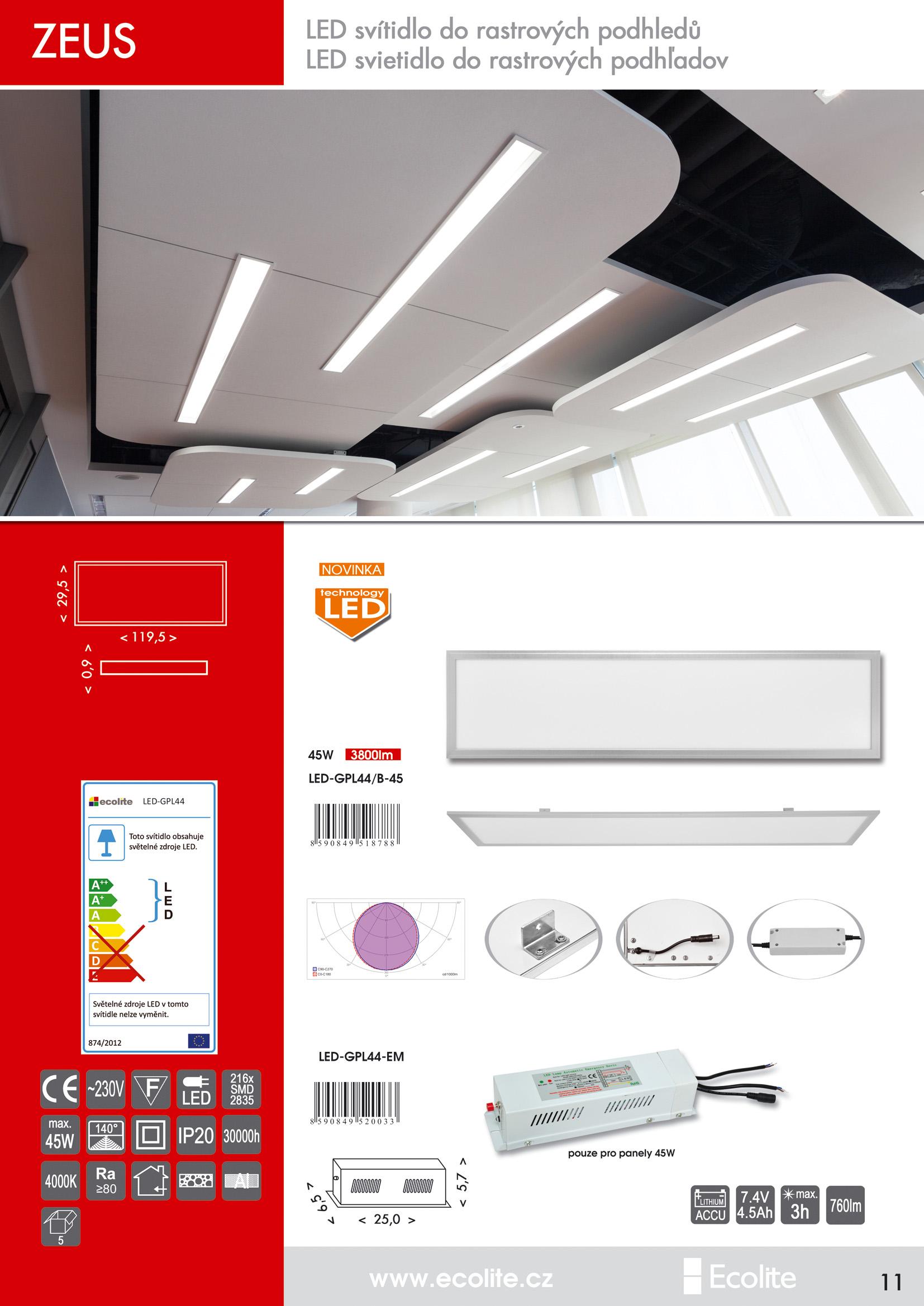 Núdzový modul k panelu LED-G4-45W